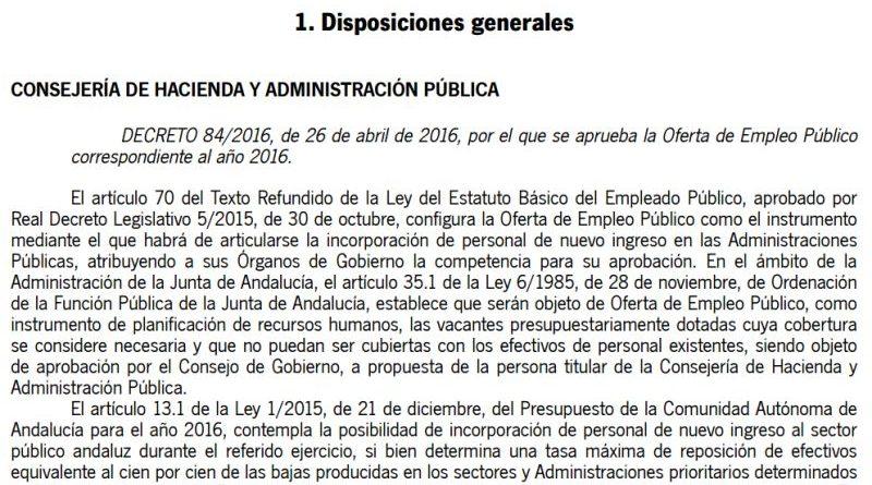 Decreto 84/2016, de 26 de abril de 2016, Oferta de Empleo Público 2016
