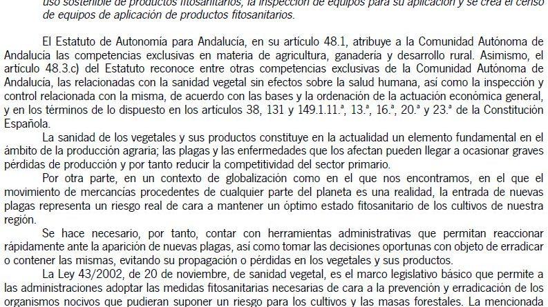 Decreto 96/2016, de 3 de mayo, lucha contra plagas, el uso sostenible de productos fitosanitarios, la inspección  y censo de equipos de aplicación