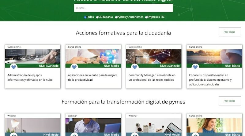 Formación a través de internet de la Junta de Andalucía