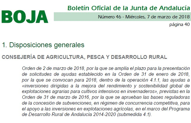 La Junta amplía al 21 de marzo el plazo de ayudas a las modernización de invernaderos