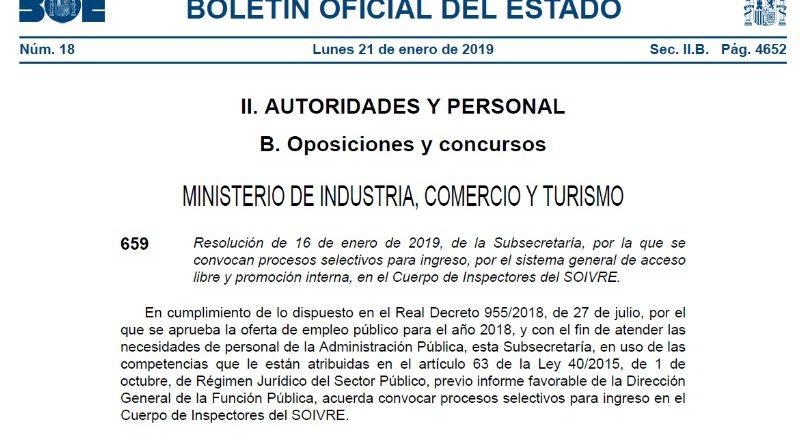 Resolución de 16 de enero de 2019. Cuerpo de Inspectores del SOIVRE.